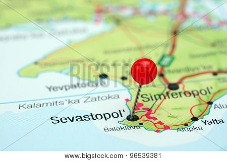 Sevastopol pinned on a map of europe