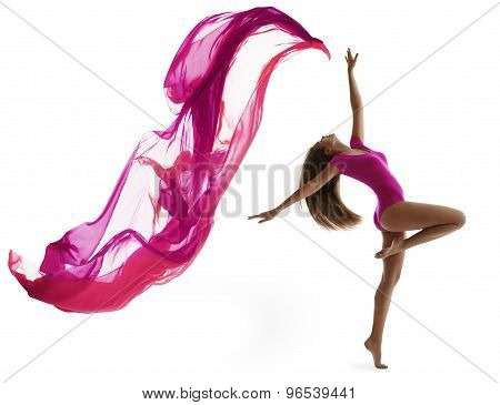 Woman Dancing, Sexy Girl Dancer, Flying Cloth Fabric, Flexible Gymnast Posing