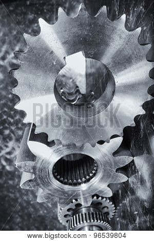 cogwheels, gears, titanium and steel aerospace parts
