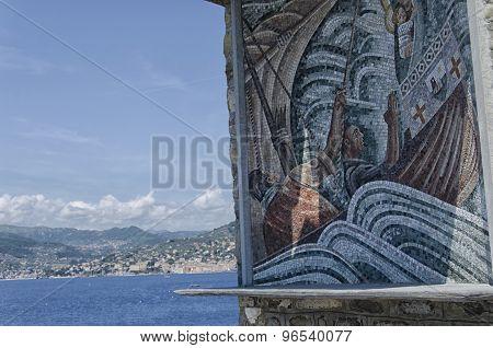 Mosaic At Punta Chiappa Near Camogli