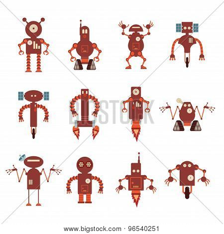 Collection Of Red Robot Icons