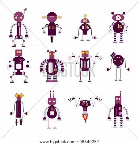 Collection Of Purple Robot Icons