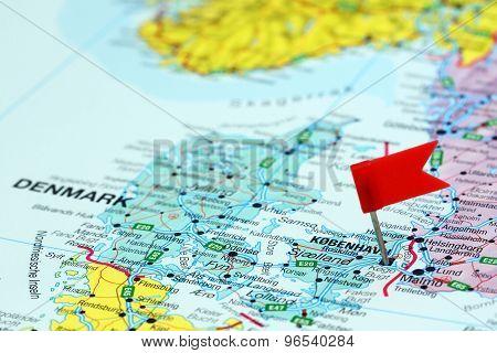 Copenhagen pinned on a map of europe