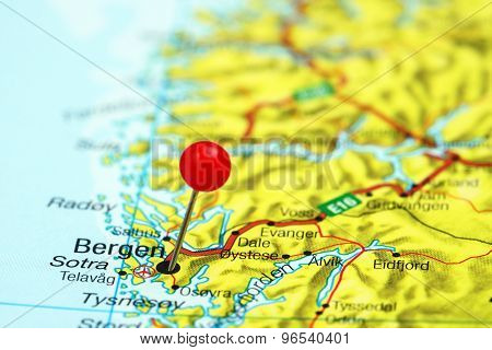 Bergen pinned on a map of europe
