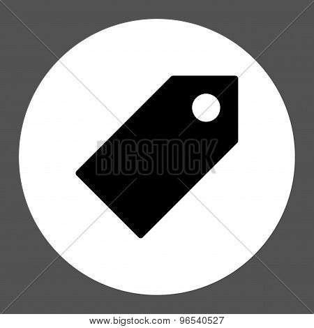Tag flat black and white colors round button
