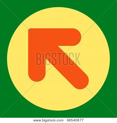 Arrow Up Left flat orange and yellow colors round button
