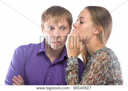Image of gossiping woman and man