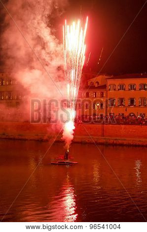 Fireworks Over The Arno At Pisa