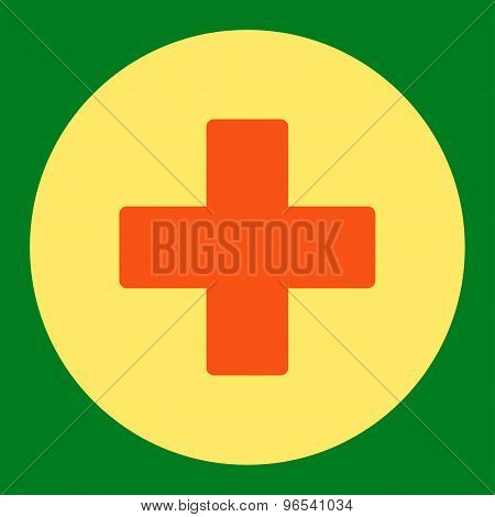 Plus flat orange and yellow colors round button