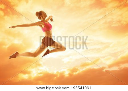 Sport Woman Running, Athlete Girl In Jump, Happy Fitness, Jumping Flying Sunny Sky