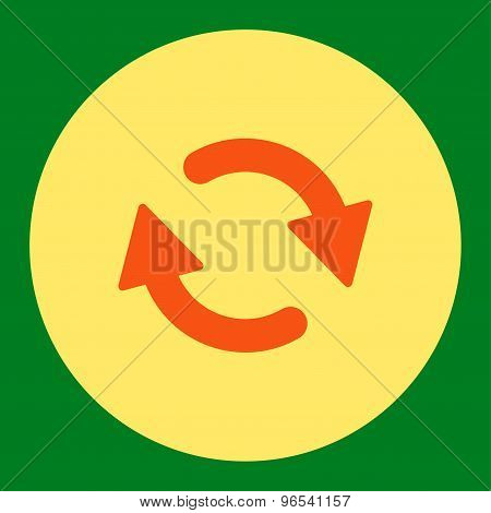 Refresh flat orange and yellow colors round button