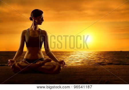 Yoga Meditating Lotus Position, Exercising Woman Meditation In Asana Pose