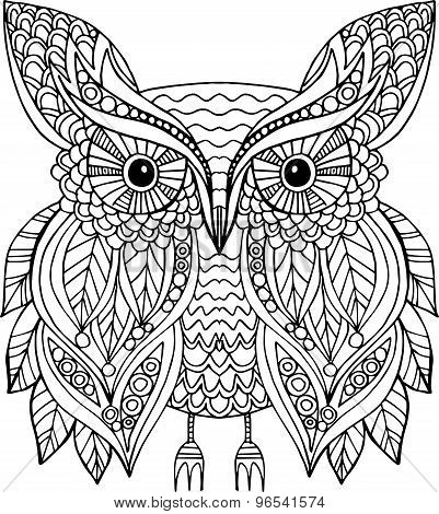 Hand drawn vector outline owl illustration decorated with doodle ornaments