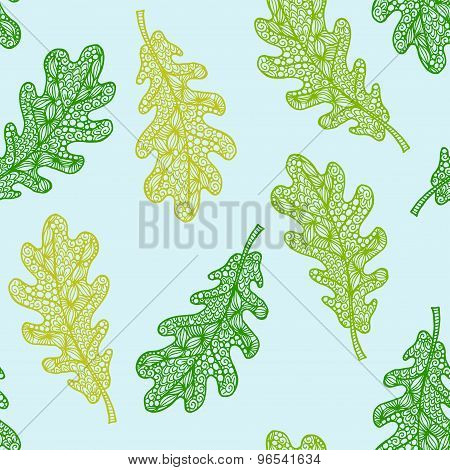 Vector seamless pattern with hand drawn orange doodle oak leaves illustrations. Decorative oak backg