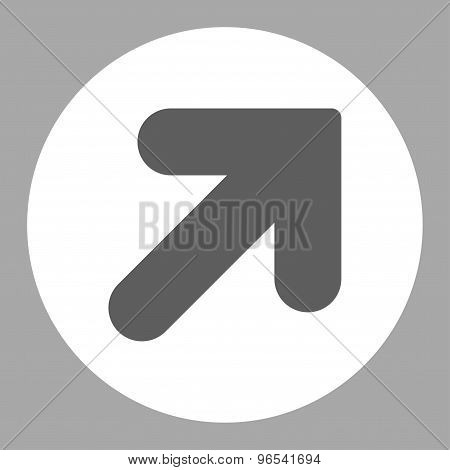 Arrow Up Right flat dark gray and white colors round button