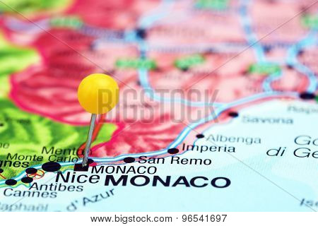 Monaco pinned on a map of europe