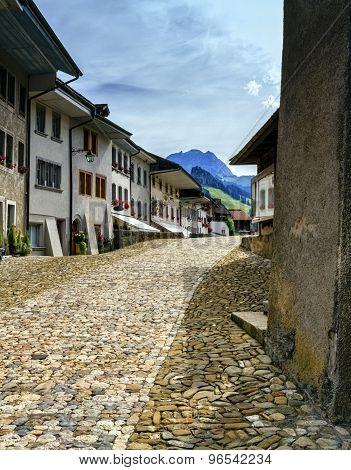 Street in Gruyeres village, Fribourg, Switzerland