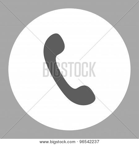 Phone flat dark gray and white colors round button