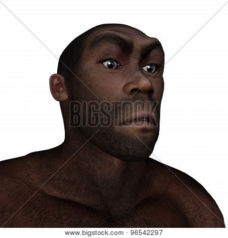 Male homo erectus angry - 3D render