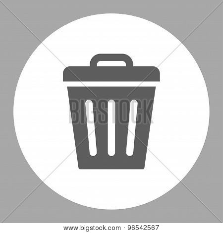 Trash Can flat dark gray and white colors round button