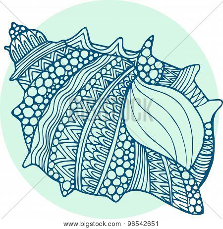Vector hand drawn abstract doodle ornamental artistic seashell illustration