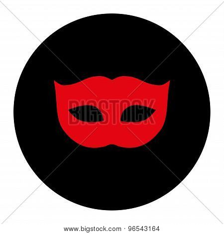 Privacy Mask flat intensive red and black colors round button