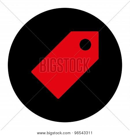 Tag flat intensive red and black colors round button