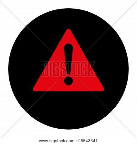 Warning flat intensive red and black colors round button