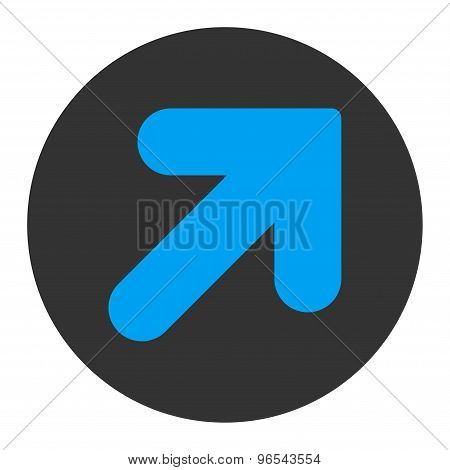 Arrow Up Right flat blue and gray colors round button