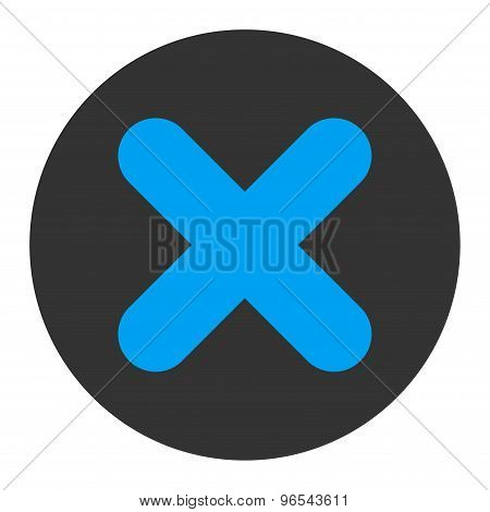 Cancel flat blue and gray colors round button