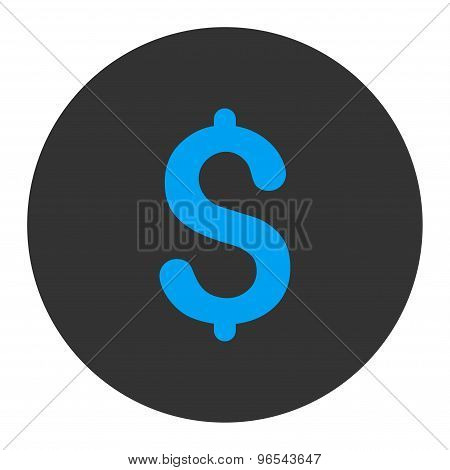 Dollar flat blue and gray colors round button