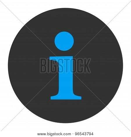 Info flat blue and gray colors round button