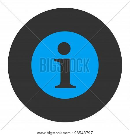 Information flat blue and gray colors round button