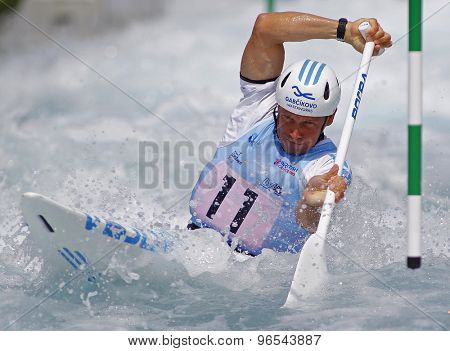 LONDON, ENGLAND - JUNE 06 2014 Michal Martikan of Slovakia competes at the ICF Canoe Slalom held at the Lea Valley White Water centre Waltham Abbey.