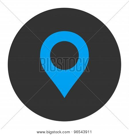 Map Marker flat blue and gray colors round button
