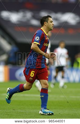 LONDON, ENGLAND. May 28 2011: Barcelona's midfielder Xavi Hernandez  during the 2011UEFA Champions League final between Manchester United and FC Barcelona, at Wembley Stadium