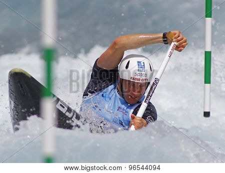 LONDON, ENGLAND - JUNE 06 2014 Benjamin Savsek of Slovenia competes at the ICF Canoe Slalom held at the Lea Valley White Water centre Waltham Abbey.