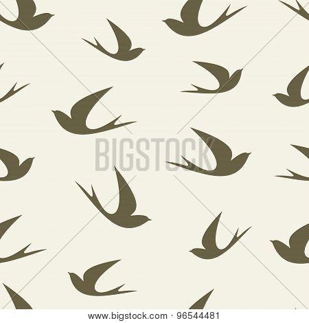 Stylized silhouette swallow, pattern.