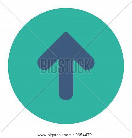 Arrow Up flat cobalt and cyan colors round button