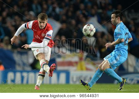 LONDON, ENGLAND - Nov 26 2013: Arsenal's Aaron Ramsey during the UEFA Champions League match between Arsenal and Olympique de Marseille, at The Emirates Stadium
