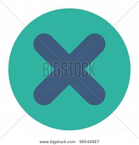 Cancel flat cobalt and cyan colors round button