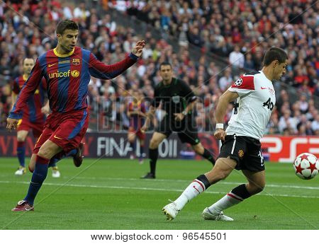 LONDON, ENGLAND. May 28 2011: Manchester's forward Javier Hernnndez during the 2011UEFA Champions League final between Manchester United and FC Barcelona, at Wembley Stadium