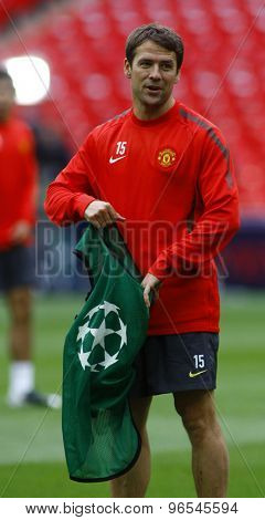 LONDON, ENGLAND. May 27 2011:  Michale Owen during the official training session for the 2011UEFA Champions League final between Manchester United and FC Barcelona, at Wembley Stadium