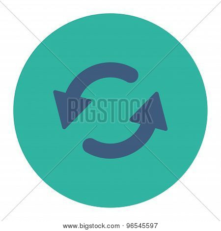 Refresh Ccw flat cobalt and cyan colors round button