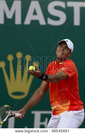 MONTE CARLO, MONACO. APRIL 19 2012 Jo-Wilfried Tsonga (FRA) in action during the third round match between Fernando Verdasco (ESP) and Jo-Wilfried Tsonga (FRA) at the ATP Monte Carlo Masters  .
