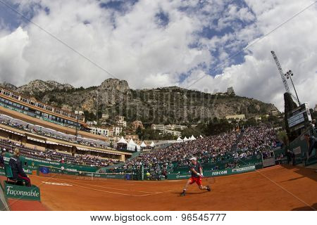 MONTE CARLO, MONACO. APRIL 19 2012 Andy Murray (GBR) in action during the second round match between Andy Murray (GBR) and Julien Benneteau (FRA) at the ATP Monte Carlo Masters  .