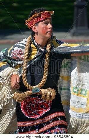 Native Indian child in traditional costume