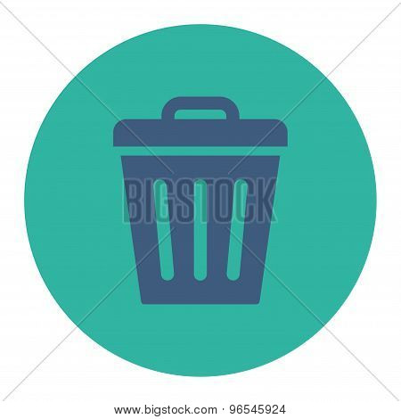 Trash Can flat cobalt and cyan colors round button