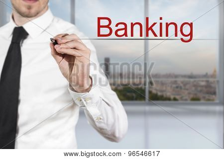 Businessman Writing Banking In The Air