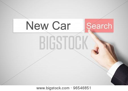 Finger Pushing Red Web Search Button New Car